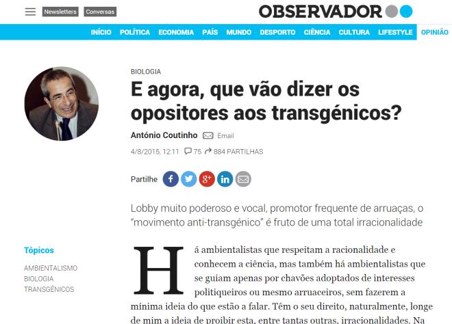 Artigo de Opinião de António Coutinho (ex-director do Instituto Gulbenkian de Ciência 1998-2012, presidente da Sociedade das Ciências Médicas de Lisboa) no Jornal Observador
